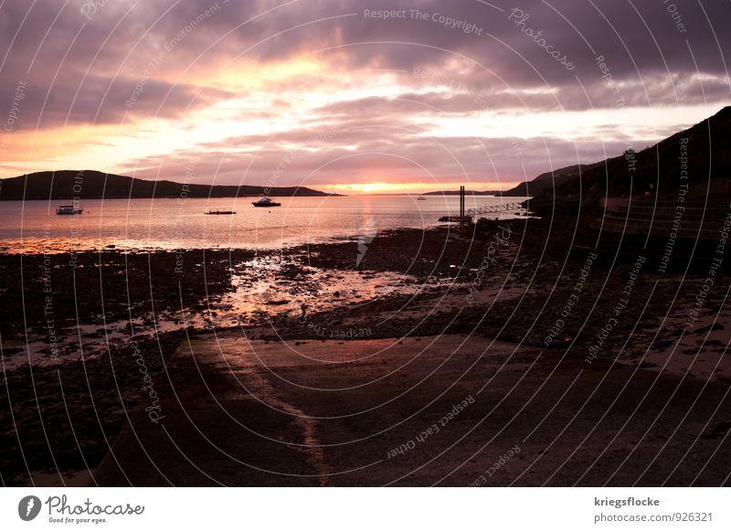 Ebbe Himmel Wasser Sonne Landschaft Wolken Küste Stimmung Wasserfahrzeug Horizont träumen Erde Beton Urelemente Romantik Seeufer Bucht