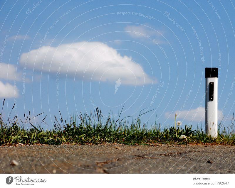 achtung! bissige kurve! Himmel Wolken Sommer Verkehrswege Straßenverkehr Kunststoff Zeichen blau braun grün weiß Straßenrand Asphalt Pfosten Farbfoto