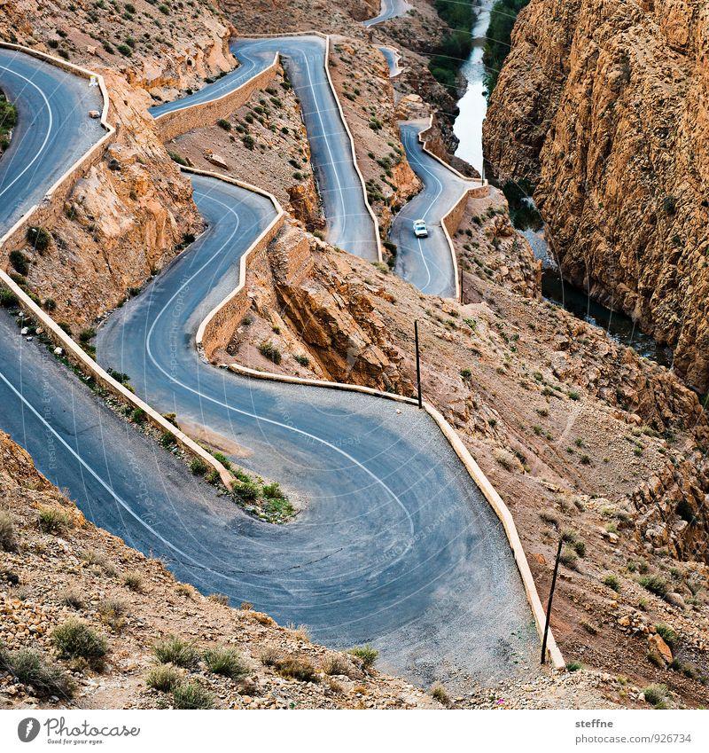 weg nach unten Natur Landschaft Berge u. Gebirge Schlucht Verkehrswege Autofahren Straße blau braun Serpentinen gefährlich Marokko dades gorges du dades Atlas