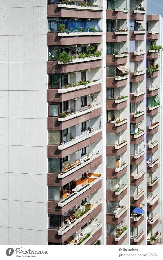 Balkonien Ferien & Urlaub & Reisen Haus grau Wohnung Armut Hochhaus Fassade trist Aussicht Idylle Sonnenschirm Langeweile eng gefangen