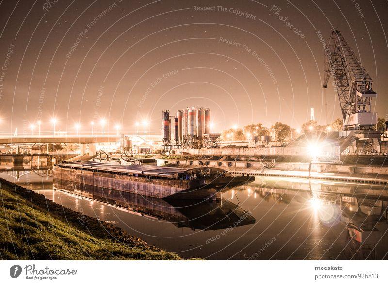 Mannheim Hafen Jungbusch Stadt grau Verkehr Brücke Industrie Güterverkehr & Logistik Hafen Verkehrswege Schifffahrt Kran Verkehrsmittel Industrieanlage Hafenstadt Mannheim Containerschiff Binnenschifffahrt