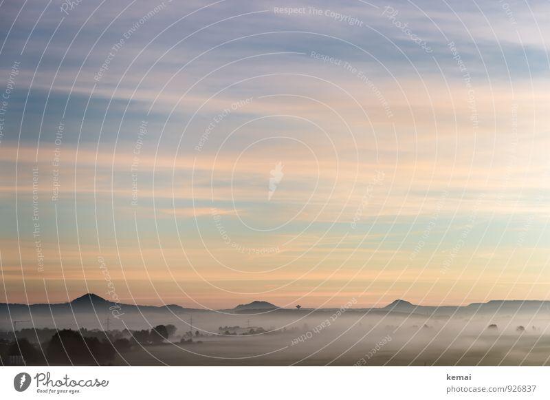 Und ich schau, schau, schau in den Morgen Himmel Natur schön Baum Landschaft ruhig Wolken Umwelt Berge u. Gebirge Herbst Feld Idylle Nebel frisch Beginn