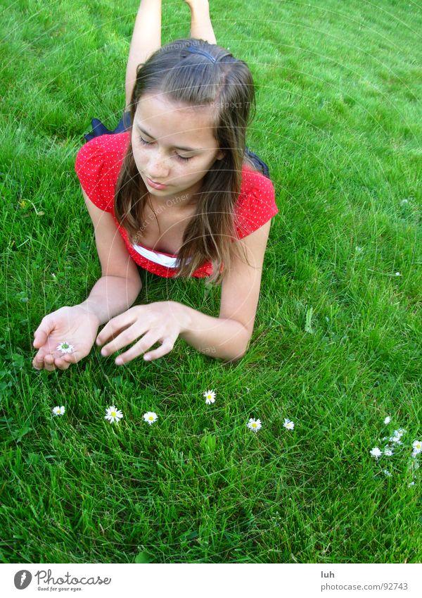 Zähle die Zeichen des Sommers. Natur Mädchen Blume grün Erholung Wiese Gras Frühling Zufriedenheit Rasen liegen nachdenklich genießen brünett Gänseblümchen