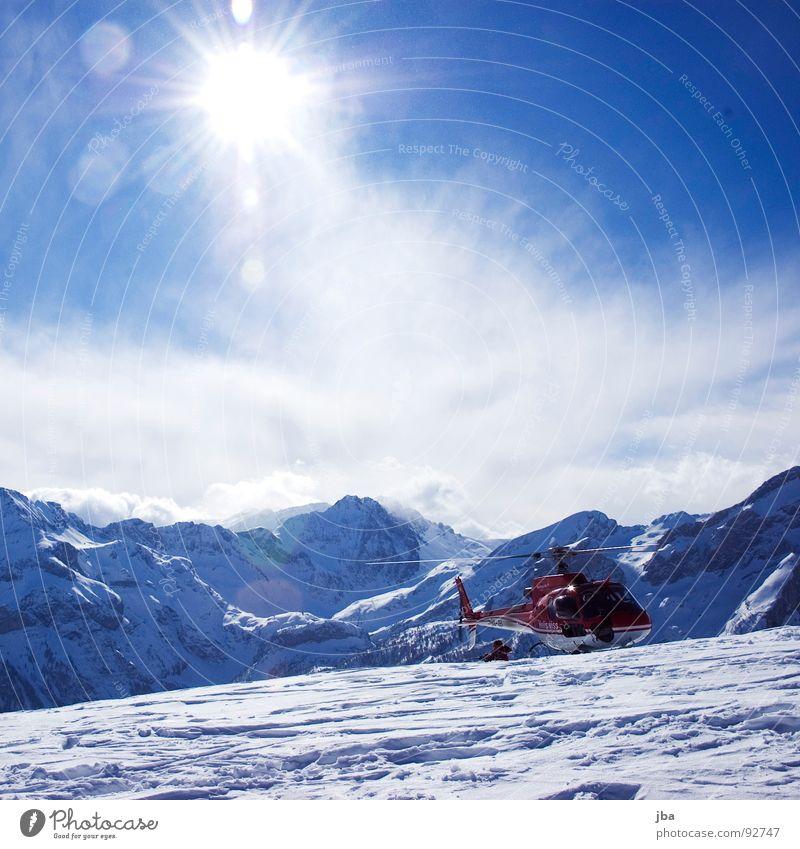Heliskiing! Hubschrauber Skitour Skifahren aufsteigen Ferne schön frisch entladen Panorama (Aussicht) Bergkette Saanenland Tourismus rot Sonnenfleck