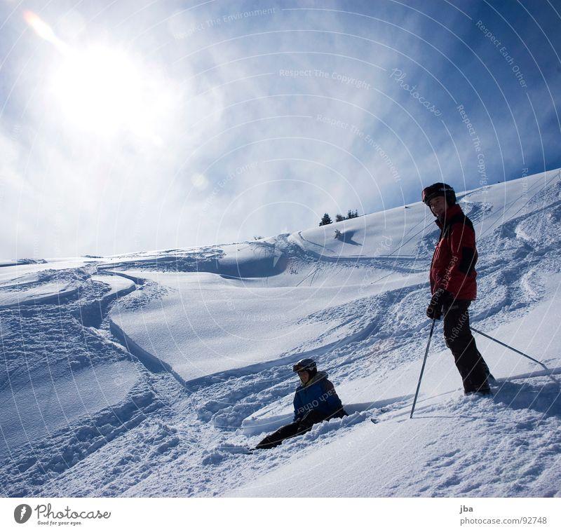 geniessen Frau Mann schön Sonne Ferne Schnee oben Tourismus frisch sitzen stehen warten hoch genießen fahren neu