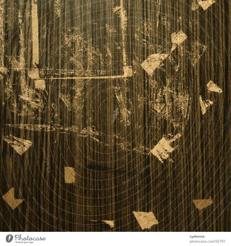 Verklebt alt Wand Holz gehen Tür Schilder & Markierungen retro Information Spuren Reinigen Dinge verloren Plakat Erinnerung Rest sehr wenige