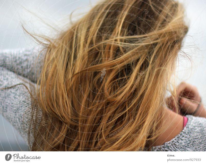 . feminin Junge Frau Jugendliche Haare & Frisuren 1 Mensch Pullover blond langhaarig streichen natürlich rebellisch wild Leidenschaft Gelassenheit geduldig