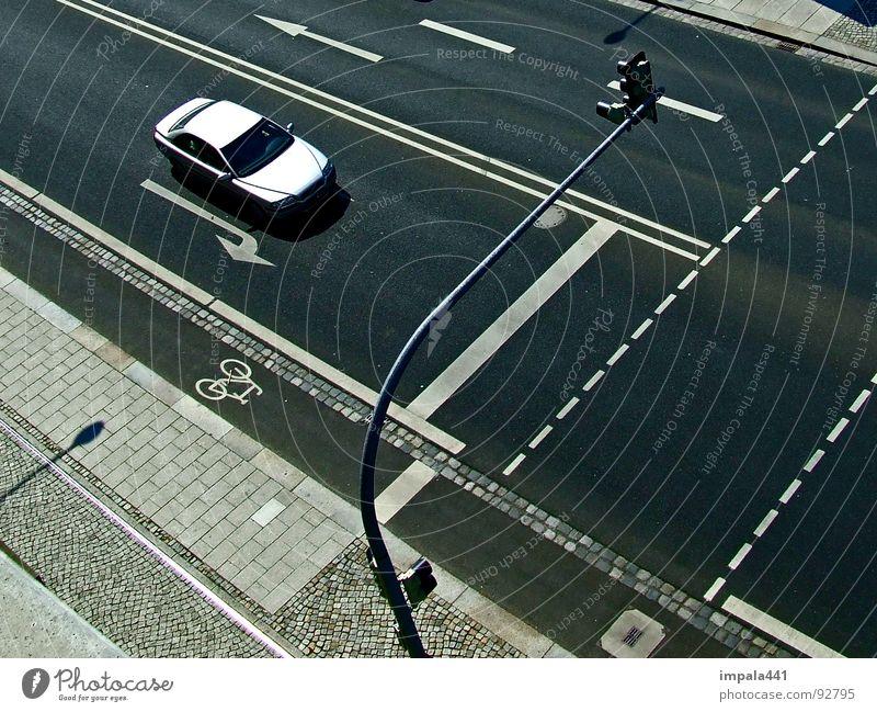 geradeaus weiß schwarz PKW Linie Verkehr fahren Pfeil Dresden Verkehrswege Ampel Fußgänger Verkehrszeichen Fahrradweg Sachsen