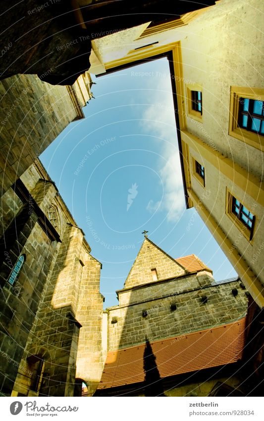 Dom Altstadt Haus Meissen Mittelalter Sachsen Stadt Sächsische Schweiz Architektur albrechtsburg Innenhof verwinkelt Himmel Himmel (Jenseits) Froschperspektive