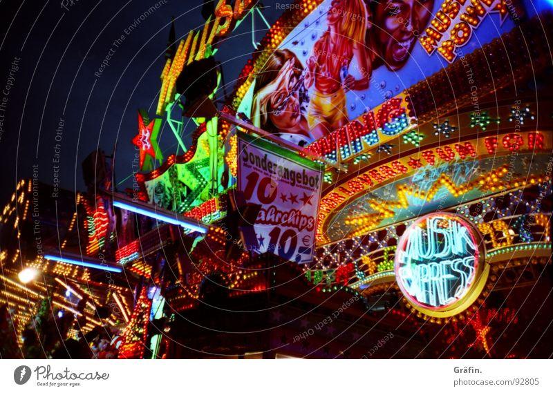 bunte Vielfalt Schützenfest Jahrmarkt Sommer Juli Hannover Licht Nacht mehrfarbig Glühbirne glänzend Losbude Fahrgeschäfte Leuchtreklame Neonlicht Auto-Skooter