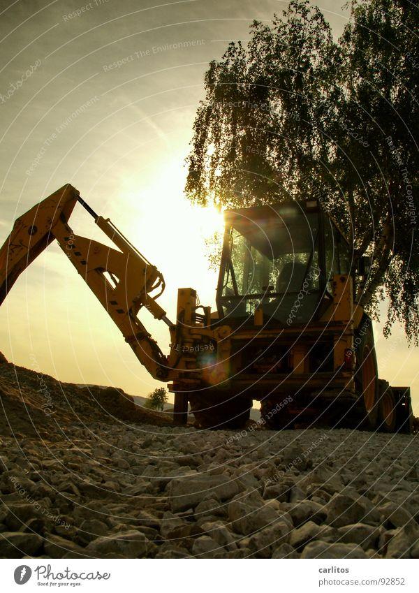 Männerspielzeug in romantisch Bagger Baustelle Straßensperre Umleitung Straßenbau Bauarbeiter Kerl Sonnenaufgang Gegenlicht blenden Froschperspektive