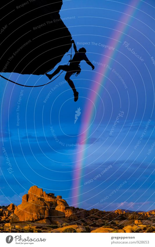 Kletternde Zehenspitzen am Rand. Abenteuer Berge u. Gebirge Bergsteigen Erfolg Seil Junger Mann Jugendliche 1 Mensch 18-30 Jahre Erwachsene Felsen frisch