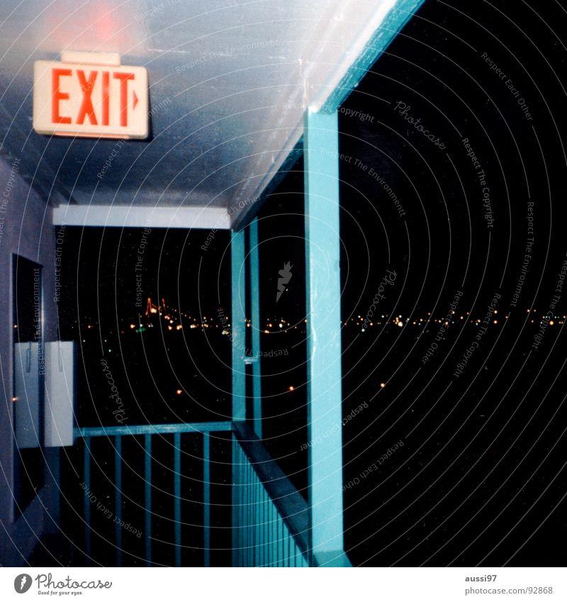 Exit Albuquerque Einsamkeit Straße verrückt USA Pause Autobahn trashig Hinweisschild Ausgang Seele hell-blau Motel New Mexiko
