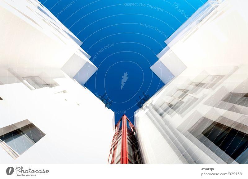 Starship Haus Architektur Stil Gebäude außergewöhnlich Design modern Hochhaus Perspektive hoch Zukunft Schönes Wetter neu Wolkenloser Himmel Irritation eckig