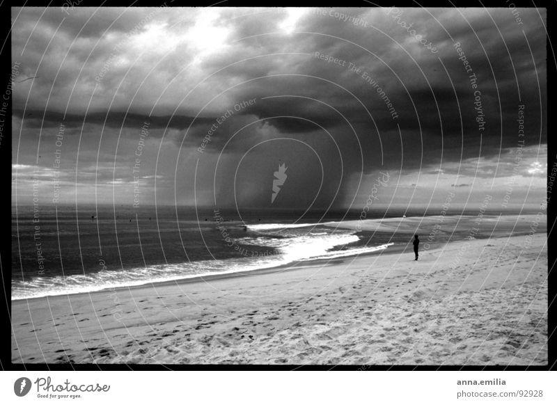 Analoge Momente in Seignosse Atlantik Meer Wellen Einsamkeit Gewitter Wind Regen