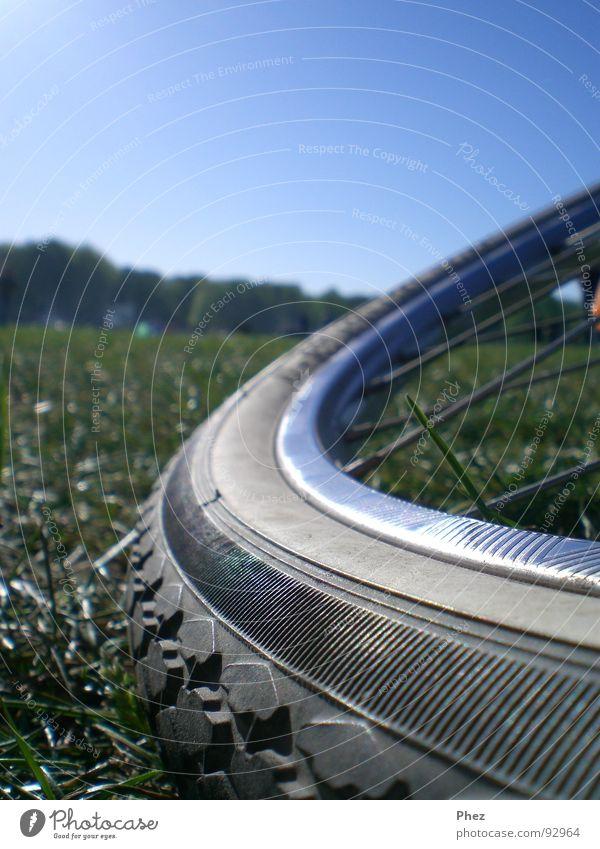 Oppas Fahrrad Wiese Silhouette Gummi Sommer Rasen Himmel Makroaufnahme Speichen Profil