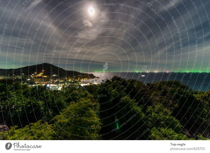 Mondspiegel Ferien & Urlaub & Reisen Abenteuer Meer Insel Natur Landschaft Wasser Nachthimmel Sommer Schönes Wetter Wald Ko Tao Fischerdorf bevölkert Hafen