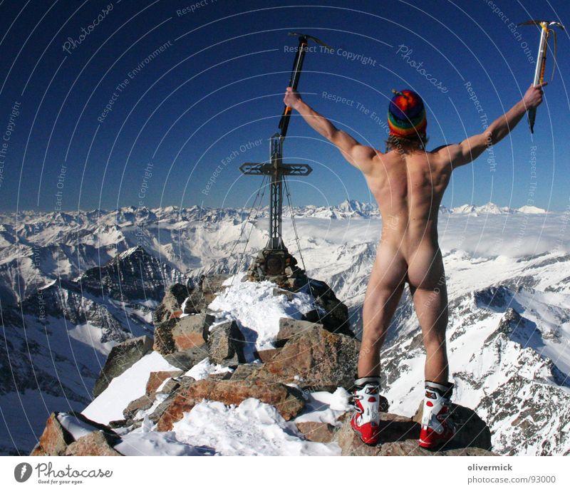 befreit am gipfel ( oder: hosen runter, ....) Akt Freude Winter Schnee nackt Berge u. Gebirge Stimmung Kraft Mensch Gipfel Sportler Österreich Muskulatur Ferien & Urlaub & Reisen Blauer Himmel Skifahrer