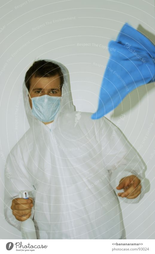 Man at work Arbeitsanzug Schutzanzug Reinigen Fensterputzen weiß Wischen Geschirrspülen Humor Staubsaugen Sauberkeit steril schön einfach Labor Anzug Spray