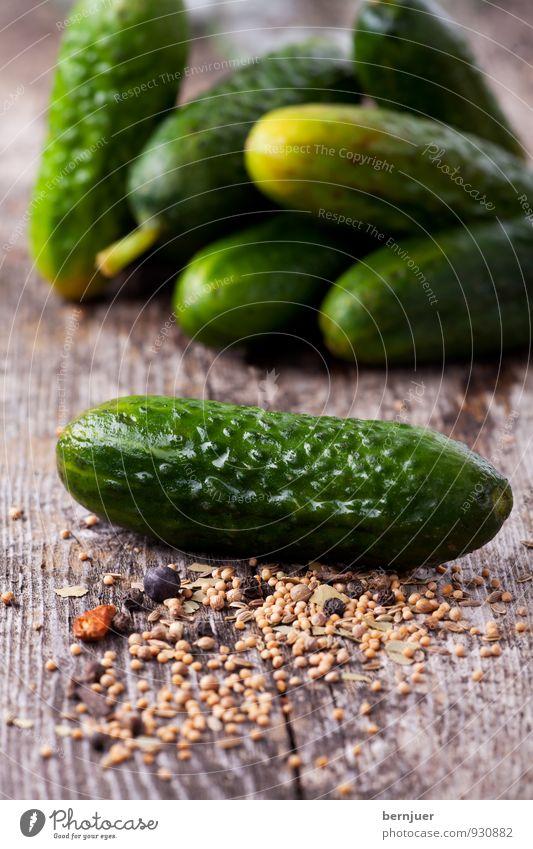 Sauregurkenzeit Lebensmittel Gemüse Billig gut Gurke Gewürzgurke einmachen konservieren Senfkörner Wacholderbeere Kräuter & Gewürze rustikal roh Foodfotografie