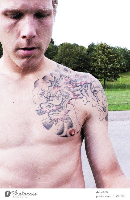over.Nippel.decoration Sommer Oberkörper Drache Mann Kerl Brustwarze Park Oberfläche Freizeit & Hobby Tattoo Bild Farbe Haut körperschmuck geht nich mehr weg