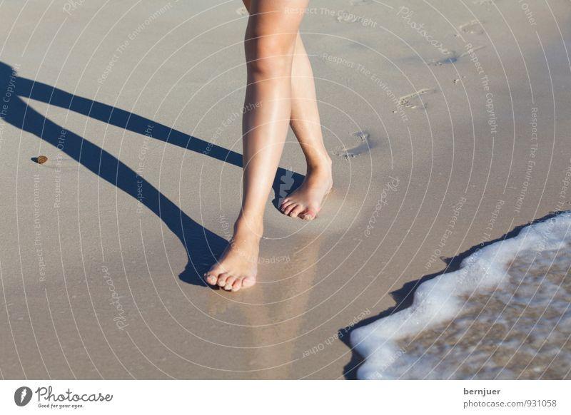 Strandläufer Mensch feminin Beine 1 18-30 Jahre Jugendliche Erwachsene Schwimmen & Baden gehen natürlich braun authentisch Zufriedenheit Fußspur Spuren