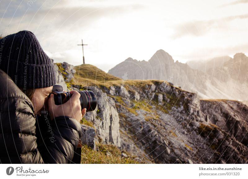 Fotografen- glück. Ferien & Urlaub & Reisen Erholung Ferne Umwelt Berge u. Gebirge Herbst Freiheit Felsen maskulin Freizeit & Hobby Zufriedenheit Ausflug