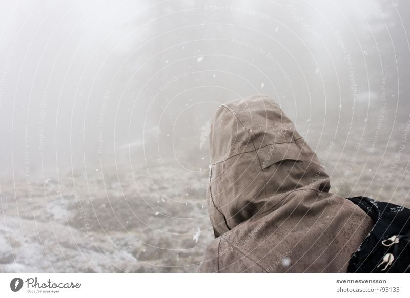 No Gorillas In The Mist Nebel Kapuze Winter kalt Hügel trüb Gesteinsformationen Südtirol Ortler ruhig Abenteuer Himmel Spielen Rücken rückwärts Schnee Mensch