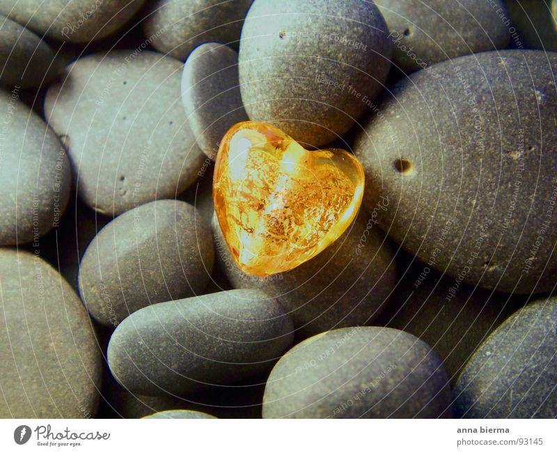 heart of glass Natur schön ruhig gelb Liebe Glück grau Stein Freundschaft Stimmung Zusammensein liegen gold glänzend Glas Herz