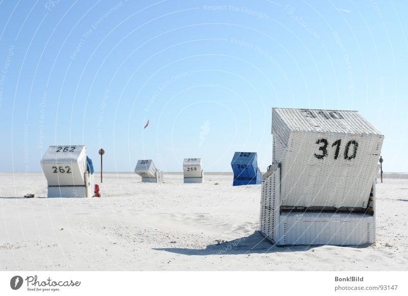 Sommer, Sonne, Strand und mehr weiß Meer Sommer Strand Ferien & Urlaub & Reisen Sand Küste Nordsee Strandkorb Blauer Himmel Nordfriesland St. Peter-Ording