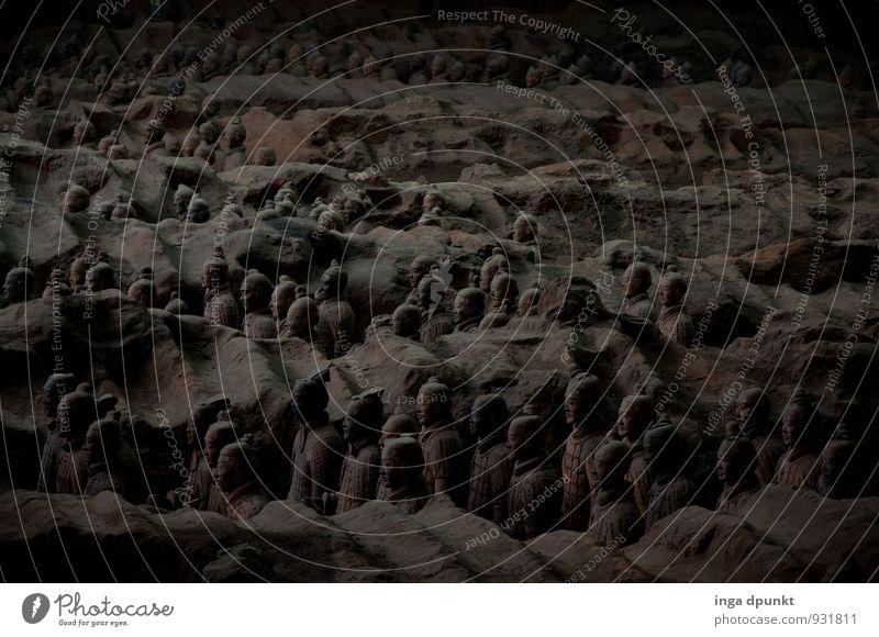 Nachtwache Mensch Kunst Museum Kunstwerk Skulptur Stein China Xi'an Terrakotta Bauwerk Sehenswürdigkeit Denkmal Grabmal stehen außergewöhnlich bedrohlich