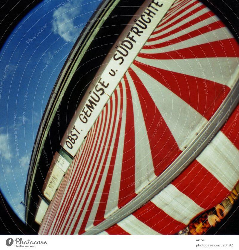 obst. gemüse u. südfrüchte Fischauge rund Lomografie mehrfarbig Wien Naschmarkt Streifen Sonnenstor Beschriftung Marktstand lomography altmodisch Frucht Neigung