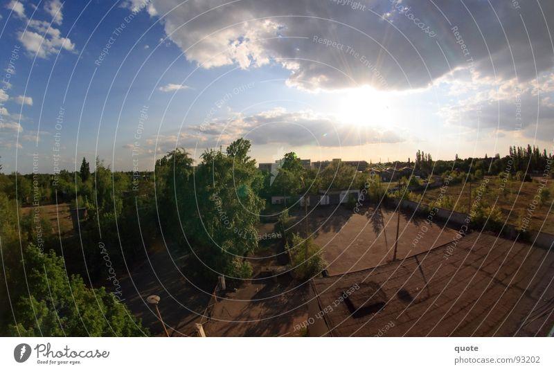 50/50 Fischauge Panorama (Aussicht) Deutschland heiß trocken weiß Luft Himmel Gegenlicht Wolken grau Baum Brachland Wald trist Natur Mai grün braun Hälfte