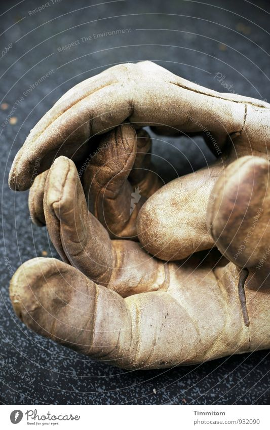 Let`s Work Together Arbeit & Erwerbstätigkeit Handschuhe Arbeitshandschuhe Gartentisch Glasscheibe Leder einfach Gefühle dreckig Abnutzung bewegungslos