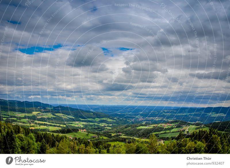 Sommerwanderung Natur Ferien & Urlaub & Reisen Baum Erholung ruhig Wolken Ferne Wald Umwelt Berge u. Gebirge Wiese Gras Freiheit Feld Tourismus
