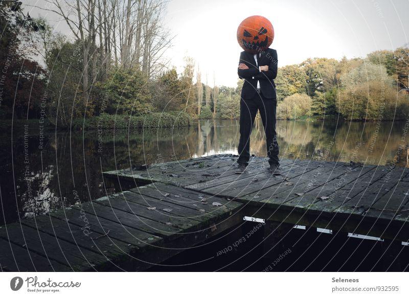 buh Kürbis Halloween Mensch maskulin 1 Umwelt Natur Landschaft Wasser Himmel Herbst Baum Seeufer Maske gruselig nass Angst Steg grinsen böse heimtückisch