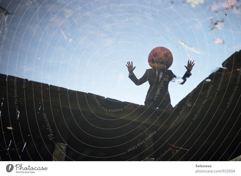 Halloween! Karneval Mensch maskulin 1 Wasser Himmel Blatt Küste Brücke Anzug Maske dunkel gruselig nass Angst Kürbiskopf Vogelscheuche Farbfoto Außenaufnahme