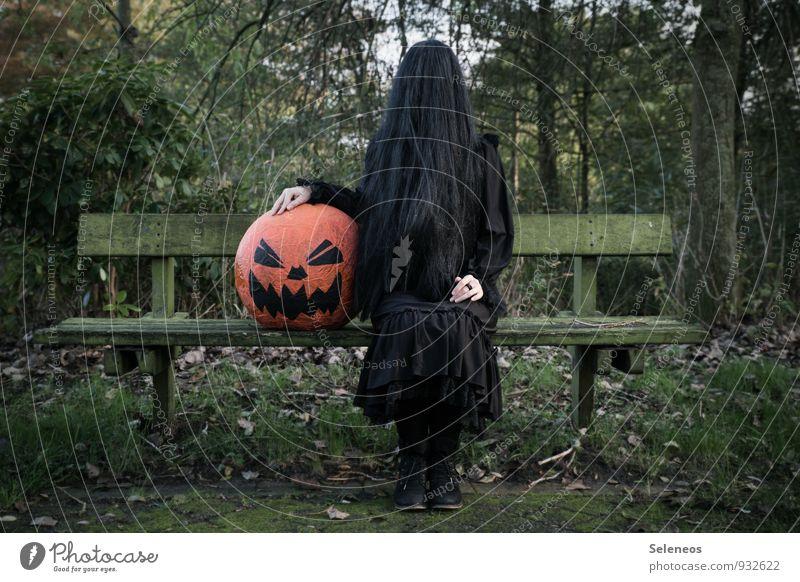 smashing pumpkin Kürbis Feste & Feiern Karneval Halloween Mensch 1 Umwelt Natur Pflanze Baum Garten Park Haare & Frisuren schwarzhaarig langhaarig Perücke