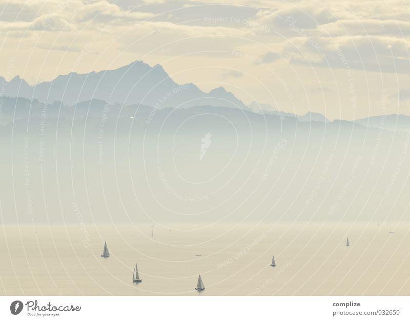 Bodensee Ferien & Urlaub & Reisen Sommer Sonne Erholung ruhig Ferne Berge u. Gebirge Sport Freiheit Wasserfahrzeug Nebel wandern Ausflug Romantik Seeufer Alpen