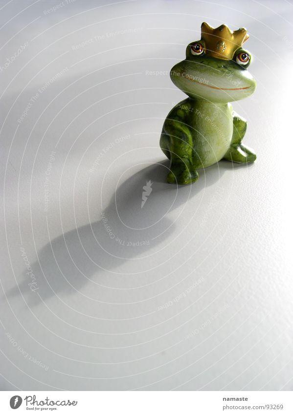 traumprinz grün Stimmung Froschkönig Traumprinz Licht Gegenlicht Tonfigur Märchen obskur Zufriedenheit Schatten Krone Objektfotografie Freisteller