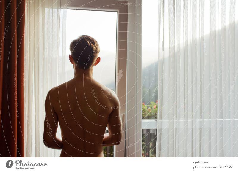 Am Morgen Gesundheit harmonisch Wohlgefühl Erholung ruhig Ferien & Urlaub & Reisen Ferne Häusliches Leben Raum Mensch Junger Mann Jugendliche Rücken 18-30 Jahre