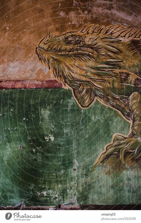 Wandmural im Abrisshaus Architektur Beelitzer Heilstätten Wandmalereien Graffiti Kunst Farbfoto Jugendkultur Kreativität Abrissgebäude Warane Echsen Reptil