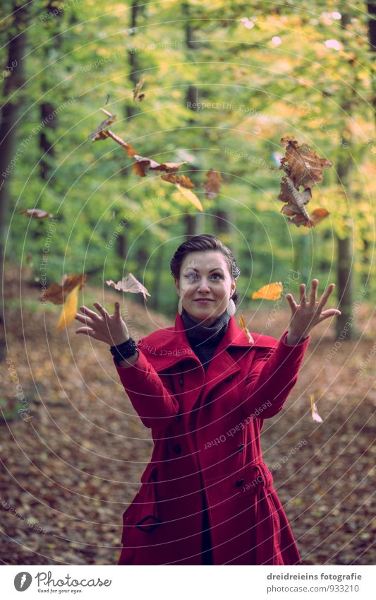 herbstliche Zauberei feminin Frau Erwachsene Natur Sonnenlicht Herbst Schönes Wetter Park Wald Jacke schwarzhaarig brünett Bewegung Liebe Spielen ästhetisch