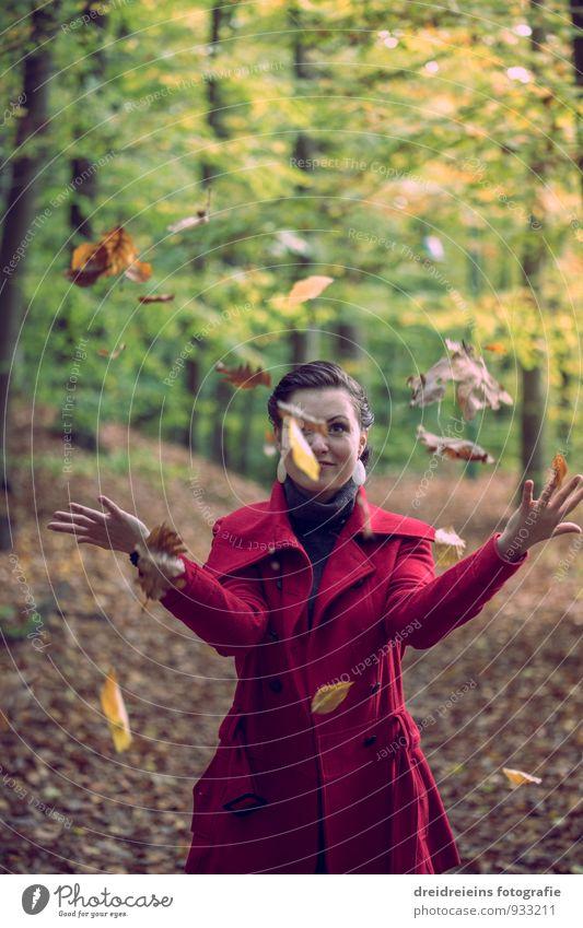Spaß & Spiel im herbstlichen Blätterwald feminin Junge Frau Jugendliche Erwachsene Natur Wald Jacke Freundlichkeit Fröhlichkeit einzigartig schön Freude