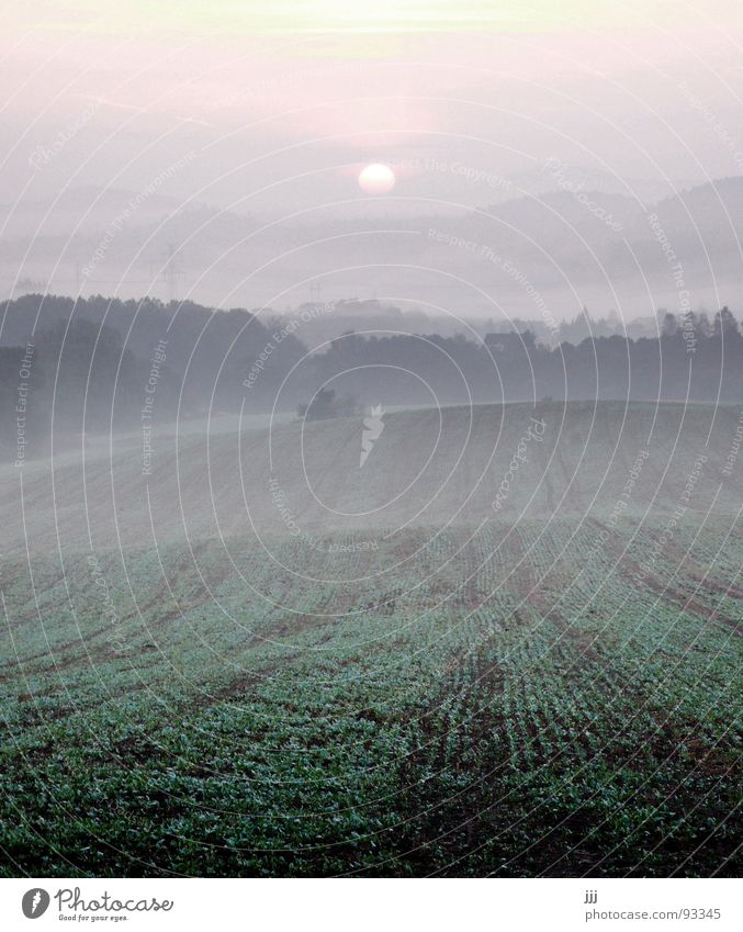 tschechischer morgennebel Sonne Landschaft Kraft Feld Nebel Europa Kraft Hügel Furche Tal aufwachen Morgennebel Tschechien