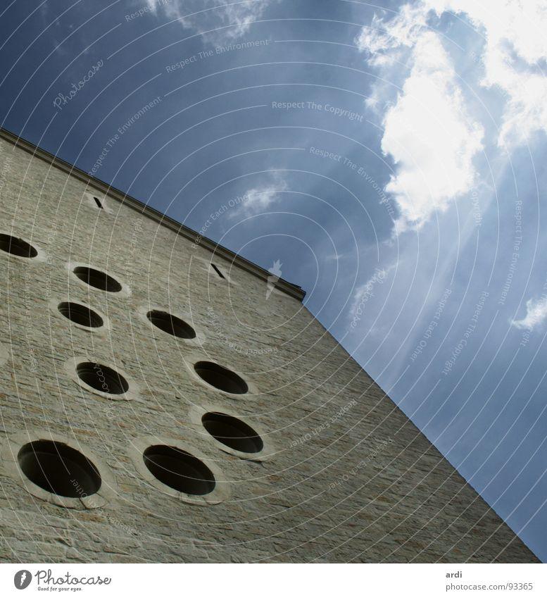 schussbereit Himmel Wolken Fenster Mauer Gebäude Religion & Glaube rund Vergangenheit historisch Loch Dom Gott Götter Münster