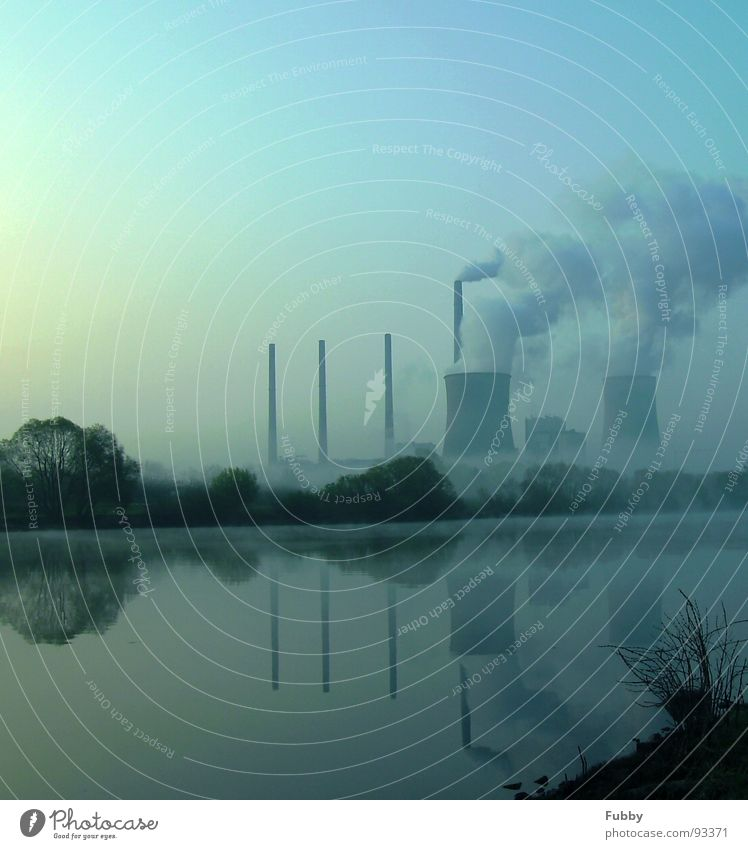 Global Warming Wasser Himmel Baum Landschaft Küste Nebel Industrie Energiewirtschaft Elektrizität Rauch Main Schornstein Stromkraftwerke Kunstwerk Kernkraftwerk