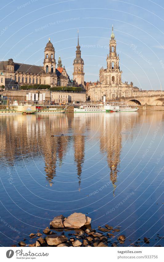 MORGENRUHE Reflexion & Spiegelung Dresden Elbe Dampfschiff Morgen Sonnenaufgang Stadt Deutschland Ferien & Urlaub & Reisen Wasser Idylle himmlisch paradiesisch