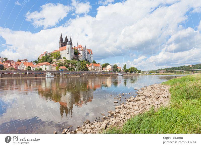 MEISSEN Natur Ferien & Urlaub & Reisen ruhig Reisefotografie Deutschland Idylle historisch Fluss Postkarte Burg oder Schloss Flussufer Dresden Sachsen Elbe