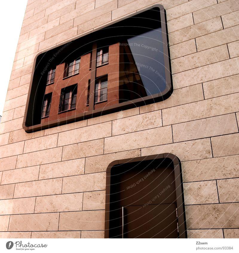 abgerundet07 Haus einfach Fenster Reflexion & Spiegelung Physik Stil modern architecture Stein Tür Wärme Farbe Glas window Stadt runde ecken Architektur
